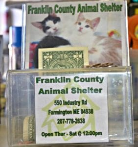 Donation boxes for change help raise money for shelters