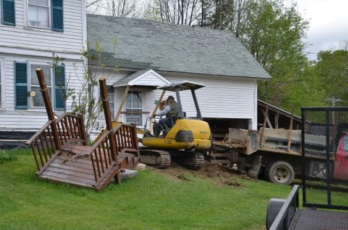 Steps on front lawn during major house renovations.